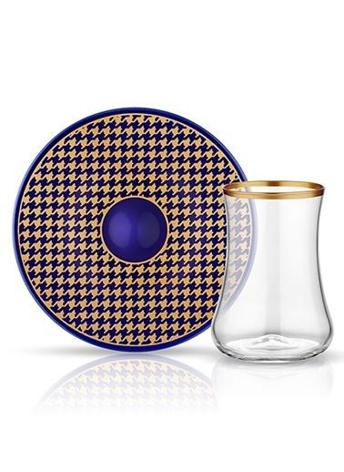 Dervish Çay Set 6'lı Ekose Kobalt-Koleksiyon
